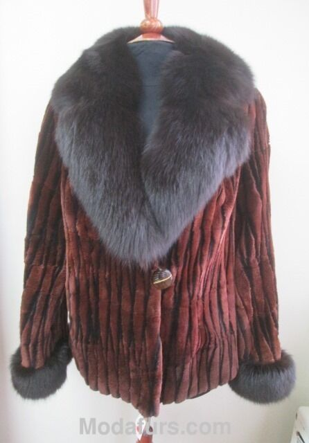 Women's Sz 10 New Sheared Beaver Fur Coat with with with Brown Fox Fur Collar  Ladies 88a825