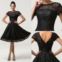Black Lace Bridesmaid Dress Formal Short Wedding Cocktail Prom Gown Size UK 6-20