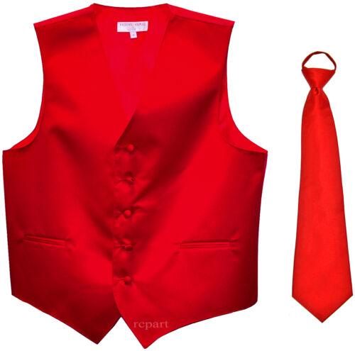 New Men/'s Solid Tuxedo Vest Waistcoat /& Pre-tied Neck tie Red wedding formal