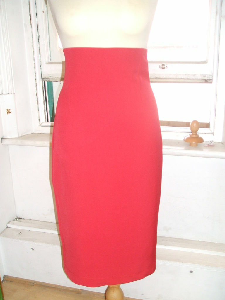 Baylis & Knight RED SUIT High Waist Waisted PENCIL Skirt DITA Vintage Glamour