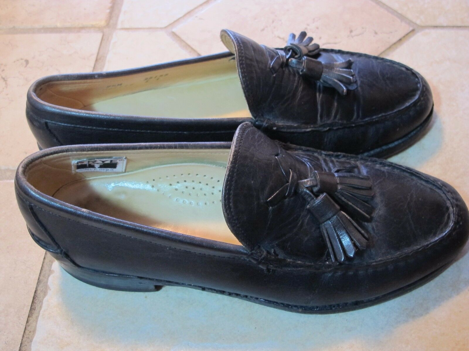 MEN'S FRYE GENUINE HAND Black LEATHER TASSLE CASUAL DRESS LOAFERS SHOES 7.5 M