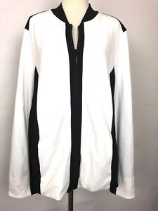 Susan Graver Ponte Knit Colorblock Zip Front Black and White Jacket Size Large