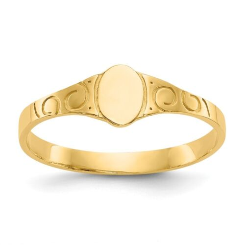 Genuine 14k Yellow Gold Oval Baby Signet Ring  0.70 gr