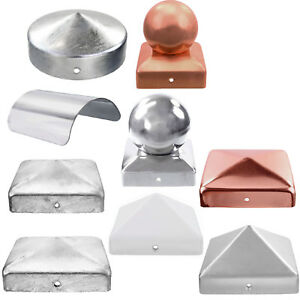 Pfostenkappen-mit-Kugel-flach-rund-Edelstahl-Stahl-Kupfer-Aluminiumguss-GAH