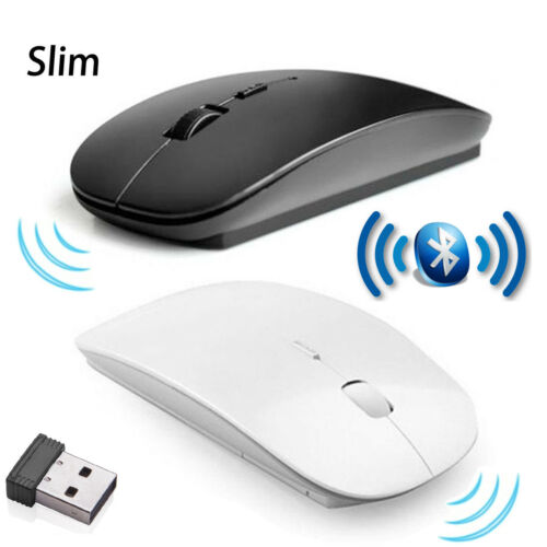 White Slim 2.4GHz Optical Wireless Mouse USB Receiver For Laptop PC Black