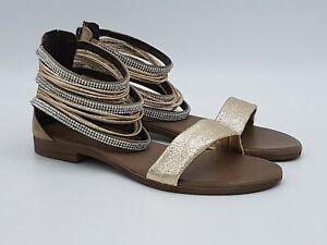 separation shoes 1c456 974e2 Dettagli su Sandali donna BOTTEGA ARTIGIANA platino scarpe pelle made in  italy prim-est 2019