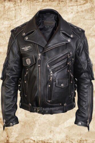 MEN/'S GENUINE COWHIDE PREMIUM LEATHER MOTORCYCLE BIKER TOP LEATHER JACKET BLACK