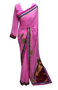 Caricamento dell immagine in corso Rosa-donna-elegante-creazione-Indiano- Sari-Matrimonio-ACCESSORI- 09f613a99b0