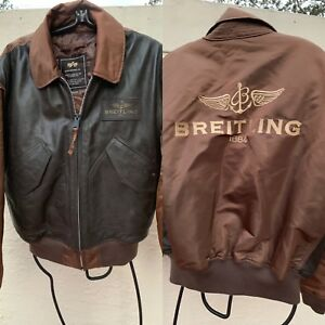 0db9541ee Details about BREITLING ALPHA INDUSTRIES LEATHER FLYERS CWU-45/P RARE  JACKET SZ M