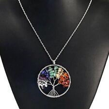 APG Natural Gemstone 7 Chakra Healing Tree of Life Pendant Necklace Charming US