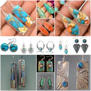 Vintage-Turquoise-925-Silver-Ear-Hook-Women-Earrings-Wedding-Dangle-Drop-Jewelry