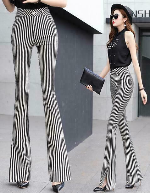 2019 Womens High Waist Skinny Striped Maxi Long Flare Trousers Fashion Pants HOT