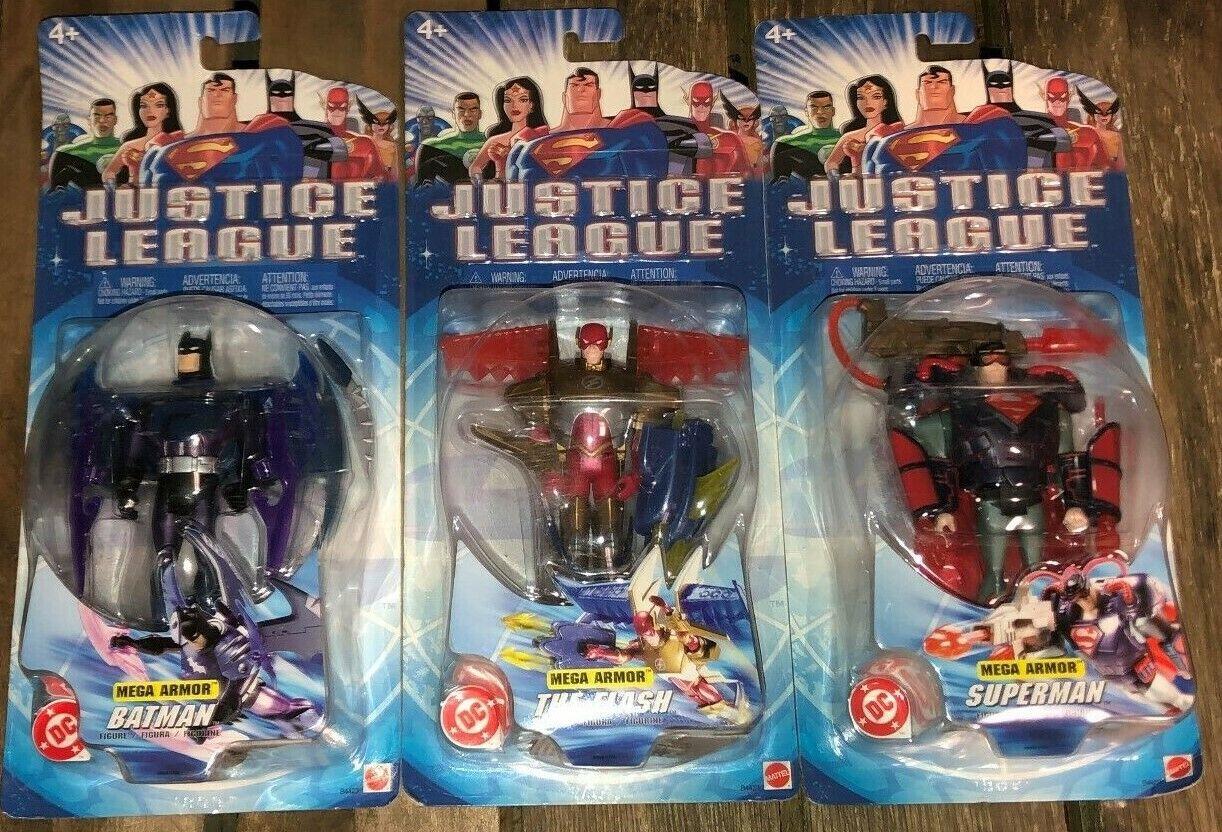 LOTTO di 3x 2003 Mattel illimitato MEGA Armatura Superuomo Batuomo e flash NUOVO IN SCATOLA Nuovo di zecca