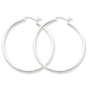 925-Sterling-Silver-Rhodium-Plated-2-5mm-x-40mm-Round-Polished-Hoop-Earrings