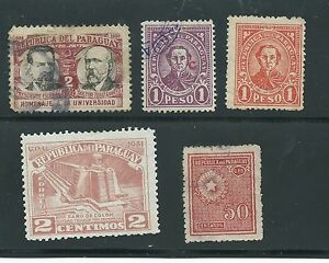 PARAGUAY-5-different-used-1920-1950