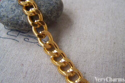 6.6ft Gold Tone Aluminum Thick Curb Unsoldered Chain A4532