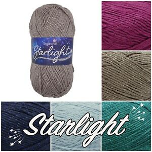 Stylecraft-STARLIGHT-Aran-Sparkle-Cotton-Acrylic-Knitting-Wool-Yarn-100g-Ball