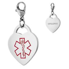 EPILEPSY Stainless Steel Medical Alert Heart Shape Charm w/ Lobster Clasp