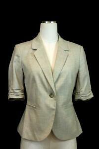 womens light gray THE LIMITED short ruched sleeve blazer jacket career modern M