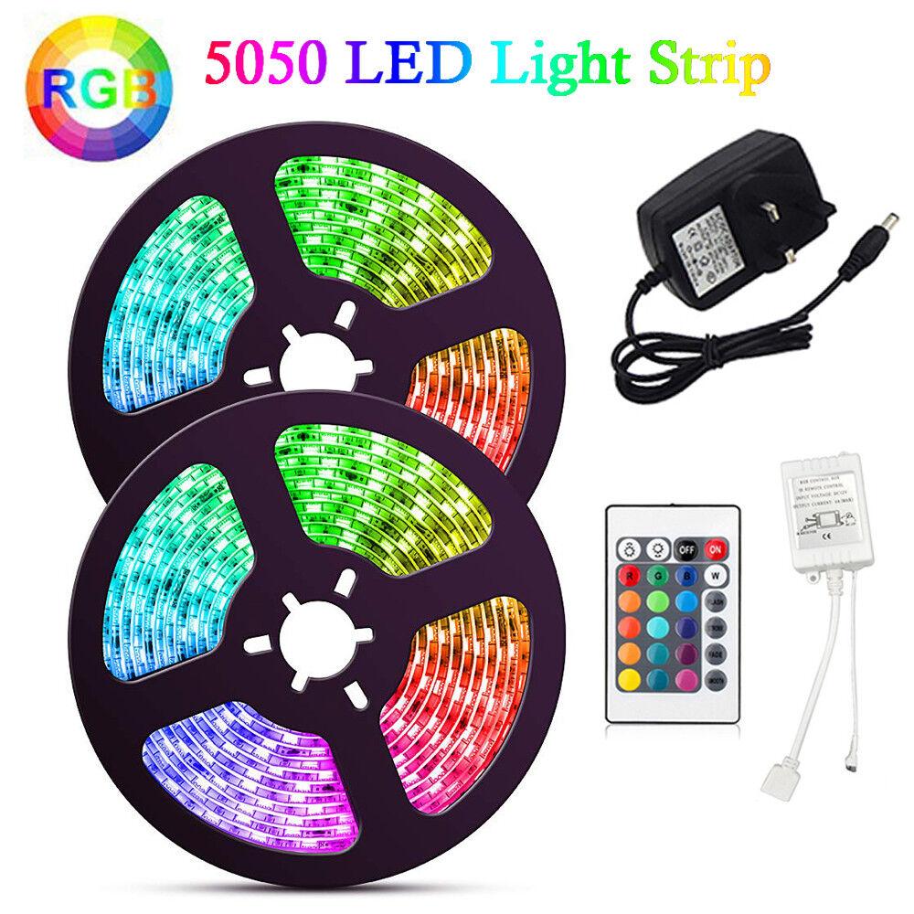 1~5M 5050 RGB 60 LED Strip Adapter Lights Color changing IR