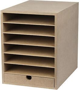 kartonregal ablage 6 f cher 1 schublade sortieren ablegen din a4 21x29 7 cm ebay. Black Bedroom Furniture Sets. Home Design Ideas