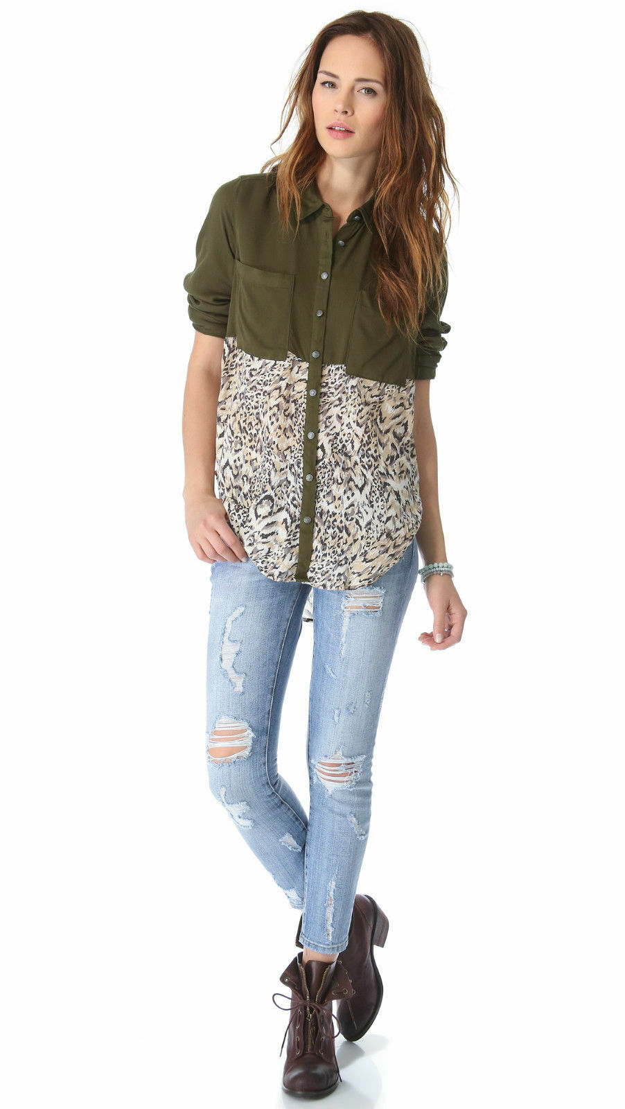 NWT Free People Welcome To The Jungle Top Shirt Army Combo Größe S
