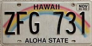 GENUINE-American-Hawaii-Aloha-State-Rainbow-USA-License-Number-Plate-Tag-ZFG-731