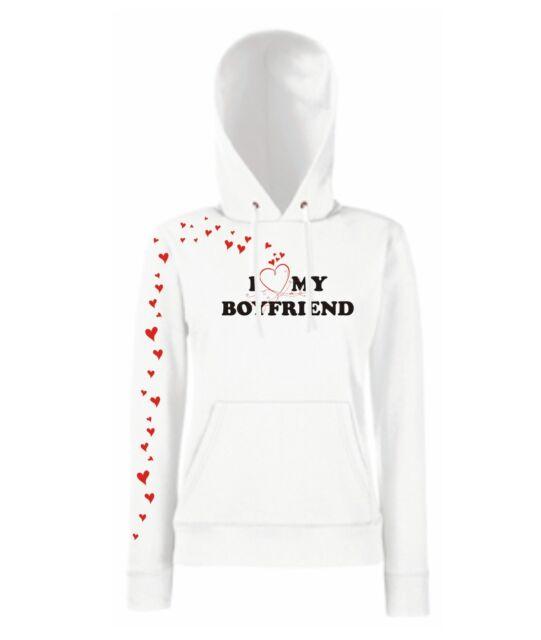 I LOVE MY BOYFRIEND Valentinstag viele tolle Farben  Girlie Kapuzen Hoodie pulli