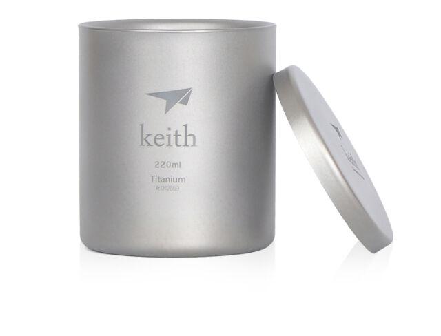 Keith 220ml Titanium Double-wall Mug Camping Mug Cup Only 92g Ti80