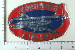 1940-039-s-50-039-s-Northwest-Airlines-Airplane-Vintage-Luggage-Label-Poster-Stamp-E9