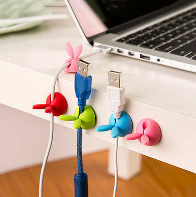 4PC Rabbit NEW Clip Desk Tidy HAOU Organiser Wire Cord USB Charger Holder