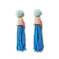 DAZZLING AQUA PINK BLUE OMBRE BEADED TASSEL STATEMENT EARRINGS