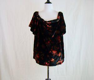 5716944f09b5e7 Ann Taylor Loft Women s Black Velvet Fall Floral Off Shoulder Top ...