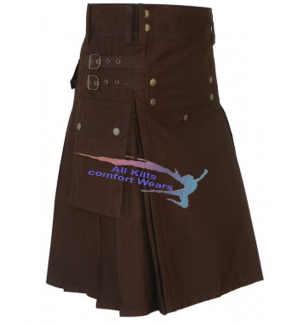 Chocolate Brown Modern Utility Kilt (UK Seller)