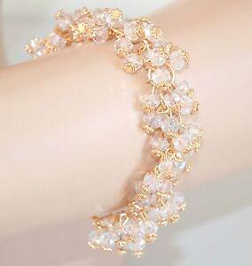 BRACCIALE-ORO-donna-CRISTALLI-pendenti-strass-dorato-sfere-elegante-bracelet-60N