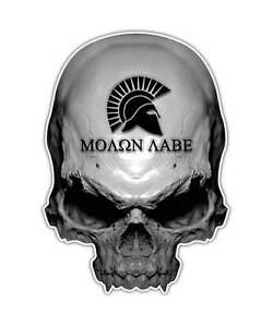 2 molon labe skull decal gun sticker spartan helmet laptop ipad