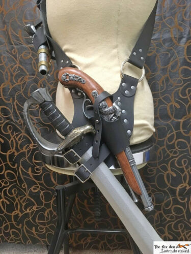 holster combo with optional baldric 2nd holster! Pirate leather baldric sword