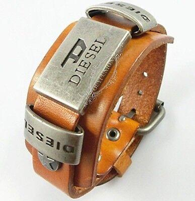 Men's Cool Punk Rivet Belt Buckle Genuine Leather Bracelet Yellow Wristband