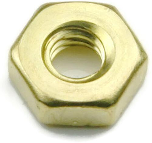 Qty 25 Brass Hex Jam Thin Nut UNF 1//4-28