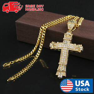 Mens-Gold-Plated-Iced-Out-Sharp-Cross-Hip-Hop-Pendant-27-5-034-Cuban-Chain-Necklace