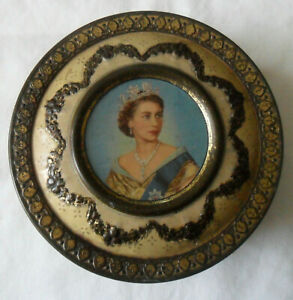 Vintage 50s Meltis Limited Chocolate Candies TIN BOX Queen Elizabeth II, England