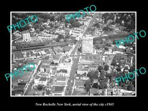 OLD-LARGE-HISTORIC-PHOTO-OF-NEW-ROCHELLE-NEW-YORK-AERIAL-VIEW-OF-CITY-c1945-1