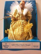 """12"""" LED Fiber Optic Christmas Angel Tree Topper w/White Wings/Gold Dress"""