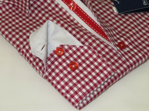 Men Oscar Banks Turkey Shirt All Egyptian Cotton Wrinkle less 5848-01 Red Check