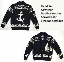 $695 Polo Ralph Lauren Hand Knit Cowichan Nautical Anchor Shawl Sweater Jacket L