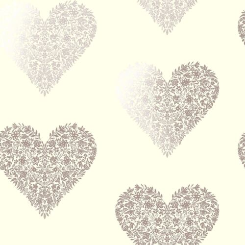 PINK HOLDEN FLORAL HEART WALLPAPER METALLIC ROSE GOLD CREAM GOLD