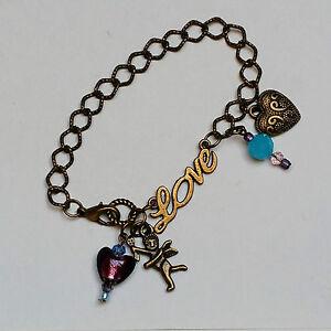 OoaK-hand-made-bronze-tone-charm-bracelet-Love-cupid-hearts-purple