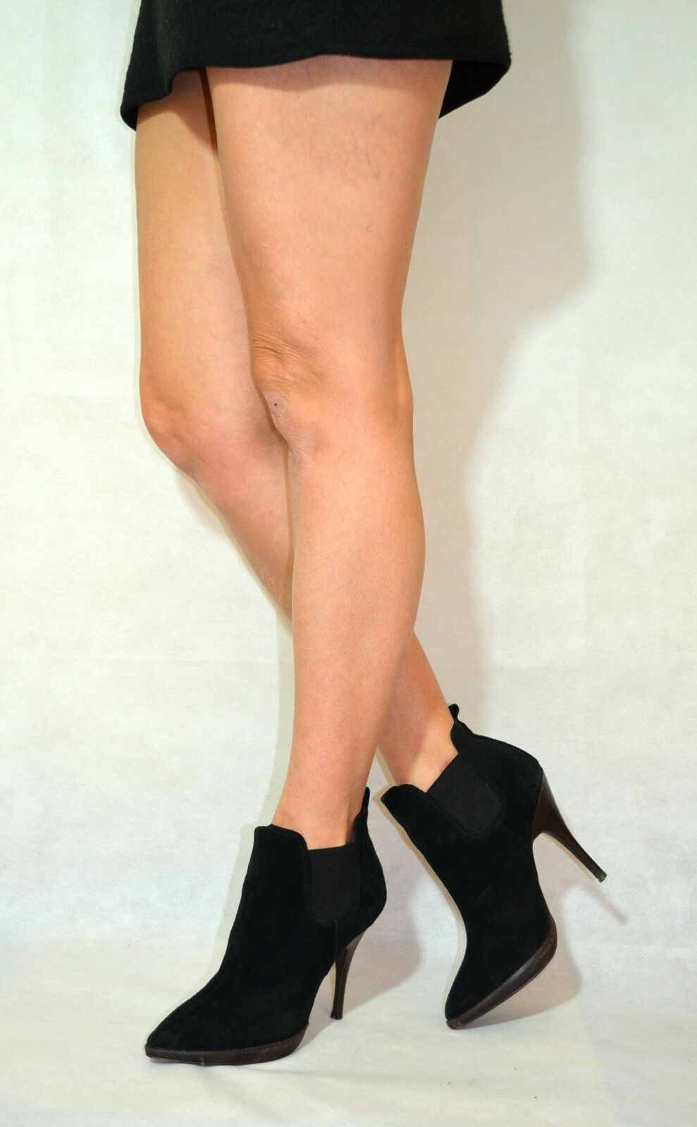 Women Black Ankle boots Real Suede pull On New Look Size 6