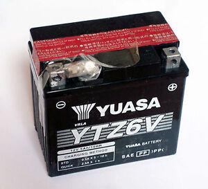 batterie battery 12 volt ytz6v yuasa honda anf 125 cbr 125. Black Bedroom Furniture Sets. Home Design Ideas