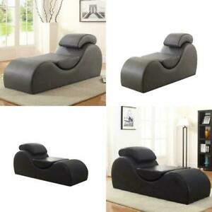 Gray Black Faux Leather Deluxe Stretch Chaise Lounge Sex